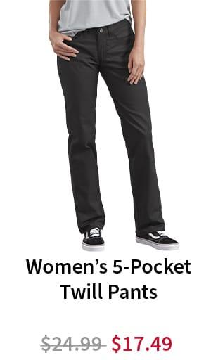 Women's 5-Pocket Twill Pants. Now $17.49