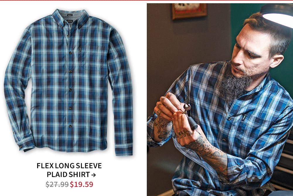 Shop Flex long sleeve plaid shirt. Now $19.59
