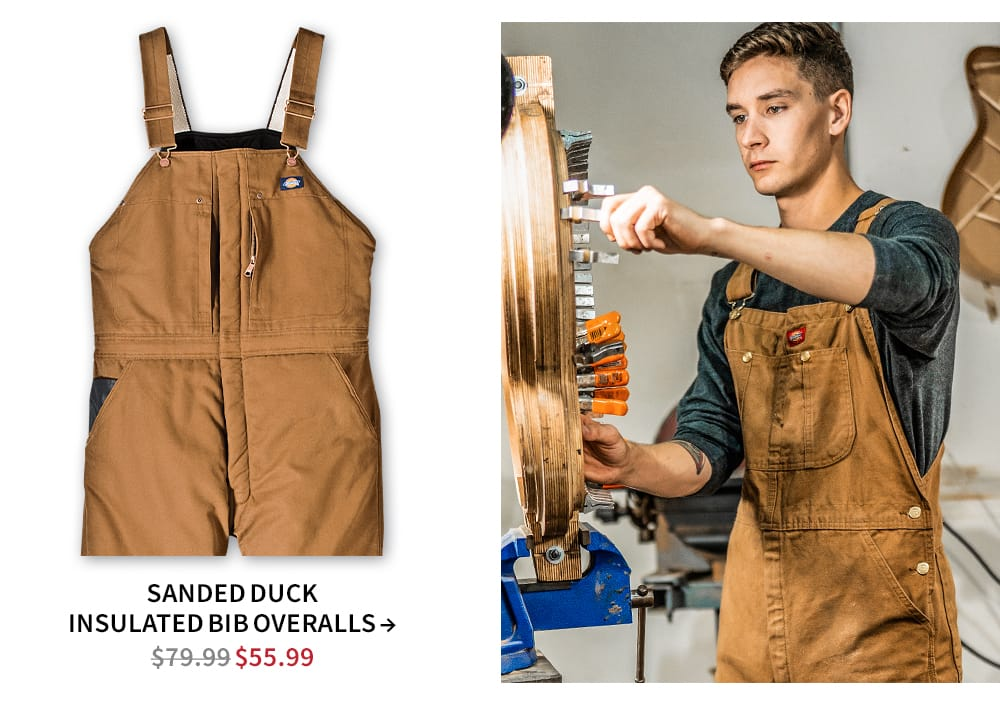 Shop Sanded duck bib insulated overalls. Now $55.99