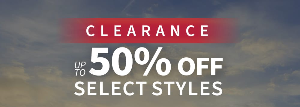 New Year's clearance. Up to 50% off select styles