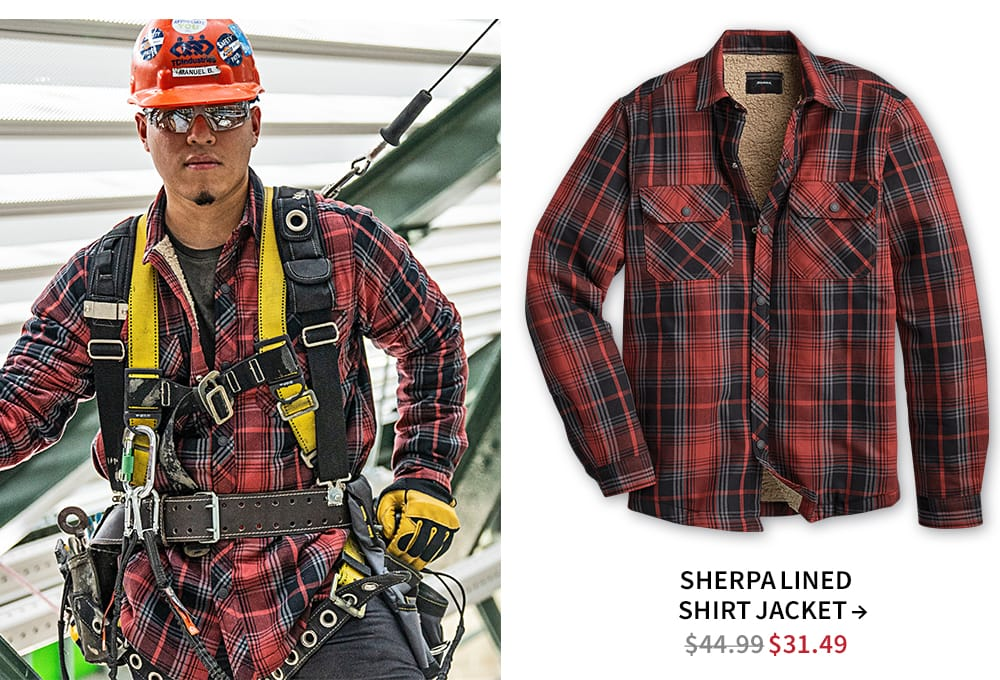 Shop Sherpa lined shirt jacket. Now $31.49